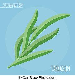 Tarragon flat design vector icon. Flavor spices and herbs ...