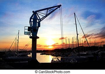tarragona, dok, solnedgang, salou, kran, havn