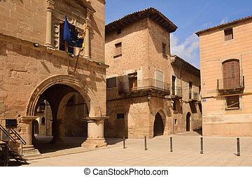 tarragona, españa, arnes, cuadrado, pueblo, terra, provincia, cataluña, aldea, alta, vestíbulo