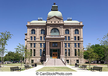 FORT WORTH, USA - APR 6: Historic Tarrant County Courthouse from 1895. April 6, 2016 in Fort Worth, Texas, USA
