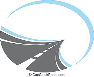Tarred road with centre lines disappearing to infinity in a receding perspective, cartoon illustration