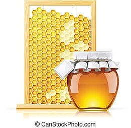 tarro, con, miel, y, panal