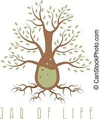 tarro, de, vida, vector, diseño, concepto, con, árbol