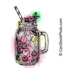 tarro, frambuesa, limonada, albañil