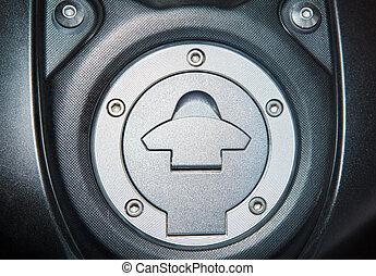 tartály kivezetés, feláll, fedő, motorkerékpár, fűtőanyag, becsuk