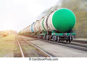 tartály, olaj, motion., kiképez, rakomány, fűtőanyag, oil-loading, elmenő