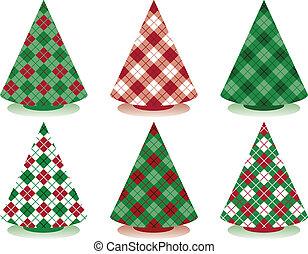 tartán, árboles de navidad