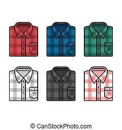 tartán, conjunto, camisas