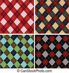 tartán, conjunto, patrones, algodones