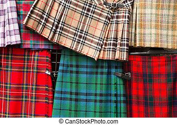tartán, detalle, faldas escocesas