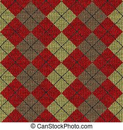 tartán, patrón, knitwork