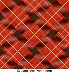 tartán, pattern., seamless, diagonal, vector, rojo