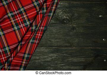 tartán, textil, háttér, fából való