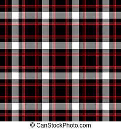 tartán, y, seamless, negro, blanco, rojo