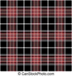 tartán, y, seamless, negro, rojo blanco