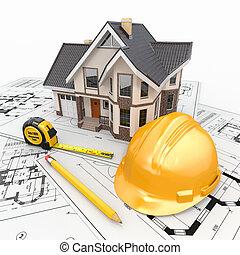 tartózkodási, építészmérnök, blueprints., eszközök, épület