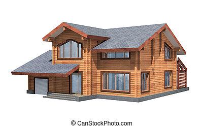 tartózkodási, épület, közül, fából való, timber., 3, formál, render., elszigeteltség, white, háttér., ingatlan tulajdon