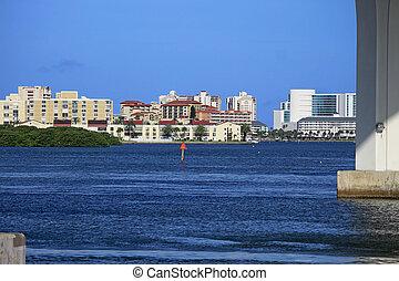 tartózkodási, épületek, tengerpart, clearwater, szálloda
