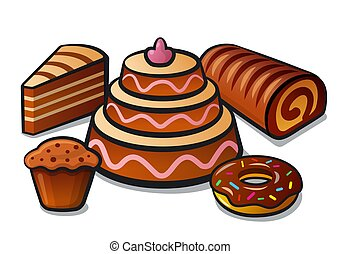 tart and cakes - illustration of the tart, bakery and cakes