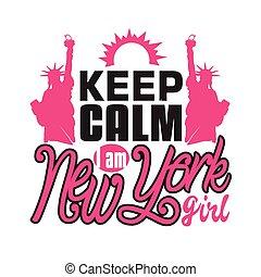 tart, idézőjelek, szlogen, york, jó, új, girl., t-shirt., csendes