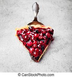 Tart, pie, cake with jellied fresh cranberries, bilberries