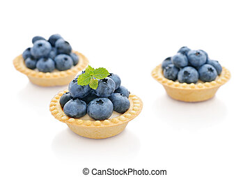 Tart with fresh blueberries - Delicious mini tart with fresh...