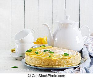 Tart with lemon curd and meringue. Lemon pie. American ...