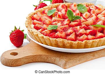 tarta de fresa, natillas