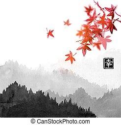 tartalmaz, keleti, hieroglifa, japán, köd, erdő, -, festmény, go-hua, u-sin, piros juharfa, leaves., hegyek, tinta, happiness., bitófák, hagyományos, sumi-e