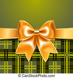 Tartan background with ribbon bow