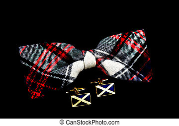 Tartan Bow Tie and Scottish Flag Cuff Links on a Black Background