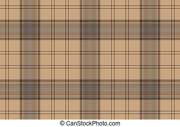 Tartan brown beige seamless fabric texture. Vector...
