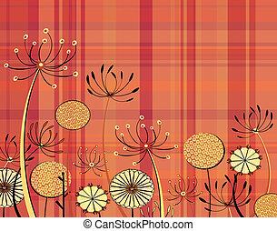 Tartan flowers - Illustration of generic umbellifer flowers...