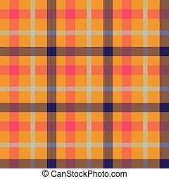 Tartan orange color seamless vector pattern