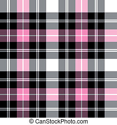 Tartan plaid vector pattern - Black and pink checkered ...