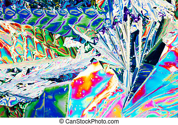 Tartaric acid crystals in polarized light - Colorful...