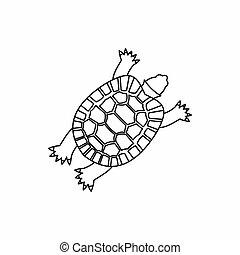 tartaruga, ícone, esboço, estilo