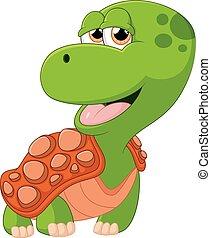 tartaruga, adorabile, cartone animato