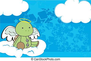 tartaruga, angelo, cartone animato, copyspace, 3