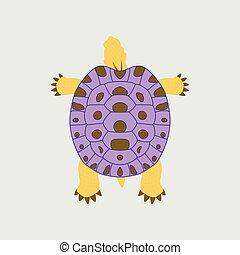 tartaruga, apartamento, estilo, vetorial, ilustração