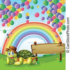 tartaruga, arcobaleno, cielo, illustrazione, accanto, asse, galleggiante, palloni, vuoto