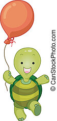 tartaruga, balloon, mascotte