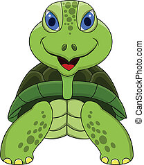 tartaruga, caricatura, sorrindo
