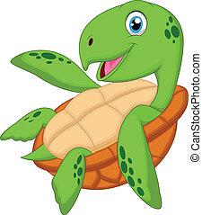 tartaruga, carino, cartone animato, mare