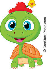 tartaruga, carino, cartone animato