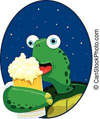 tartaruga, cerveja, desfrutando