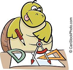 tartaruga, compassos calibre, ilustração, caricatura