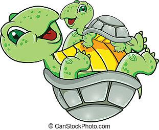 tartaruga, con, bambino