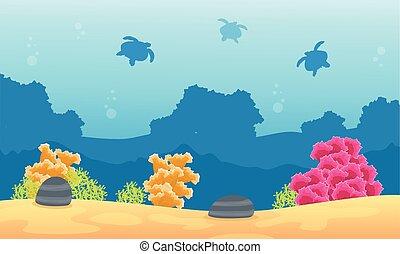 tartaruga, corallo, silhouette, silhouette, scogliera