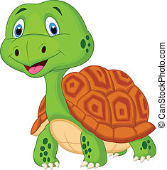 tartaruga, cute, caricatura